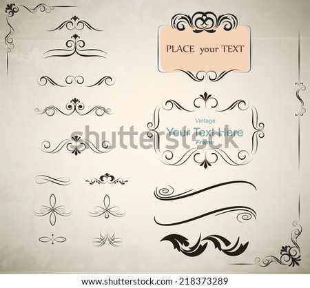vintage calligraphic  frame and element. Using for page decoration,Vector EPS10