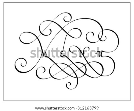 Vintage calligraphic inscription Menu - stock vector