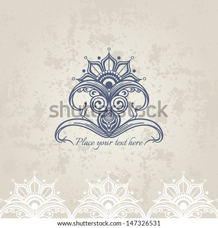 Vintage calligraphic ornaments: design elements, page decoration, border frame. Old paper texture. - stock vector