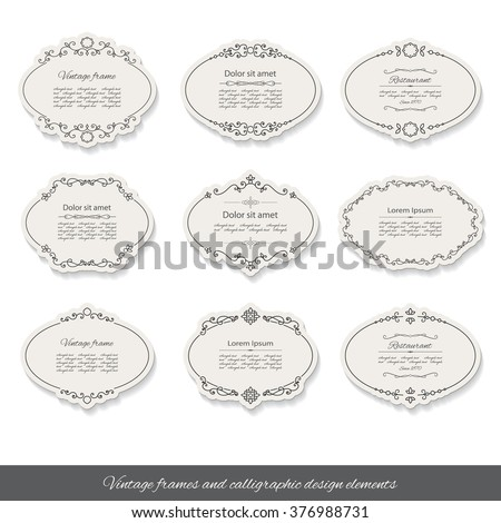 Vintage calligraphic oval frames and labels set. Calligraphic design elements. - stock vector