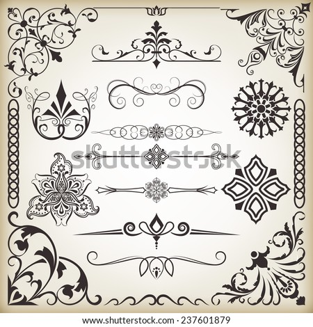 Vintage calligraphic vector design elements isolated on beige background. Set 8. - stock vector