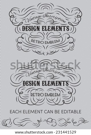 Vintage calligraphic vector elements of templates for creating stylized inscriptions - stock vector