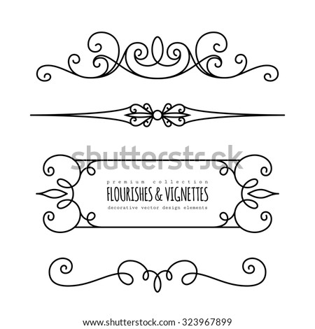 Vintage calligraphic vignettes and dividers, set of decorative design elements in retro style, page decoration template, vector scroll embellishment on white - stock vector