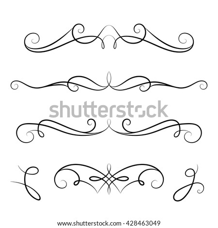 Vintage calligraphic vignettes, set of decorative design elements in retro style, vector scroll embellishment on white - stock vector
