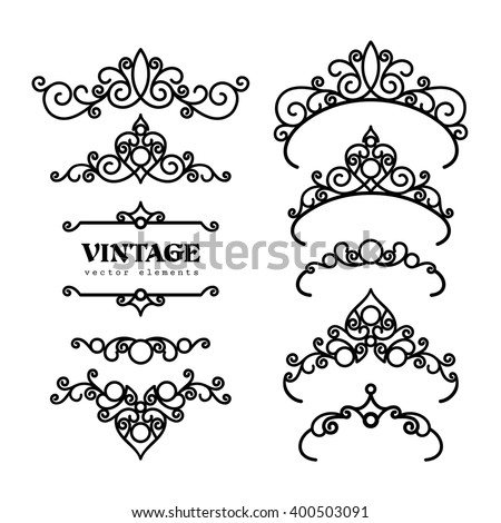 Vintage calligraphic vignettes, set of elegant diadems and decorative design elements in retro style, vector scroll embellishment isolated on white - stock vector