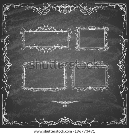 Vintage Calligraphy Chalkboard Design Elements. Set of decorative design elements and page decor. Classic curves and curly lines. Set of hand drawn ornamental frames. - stock vector