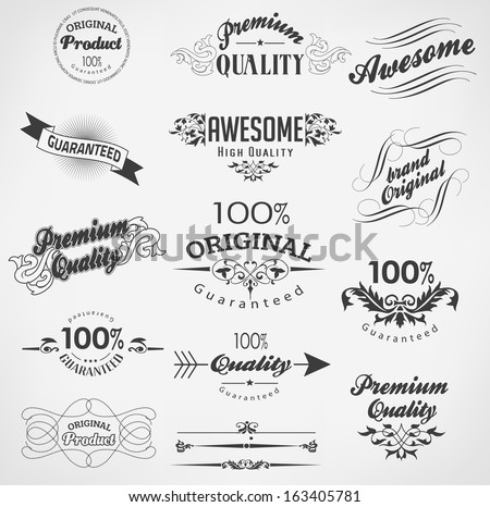 Vintage calligraphy, decoration design elements - stock vector
