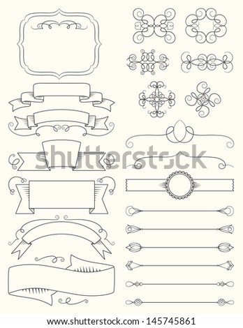 Vintage Calligraphy Design Elements Five - stock vector