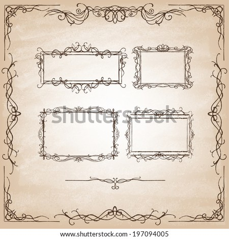 Vintage Calligraphy Design Elements. Set of decorative design elements and page decor. Classic curves and curly lines. Set of hand drawn ornamental frames. Vector illustration. - stock vector