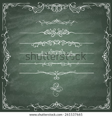 Vintage Calligraphy  Design Elements. Set of decorative design elements and page decor. Classic curves and curly lines on the green blackboard. Vector illustration. - stock vector