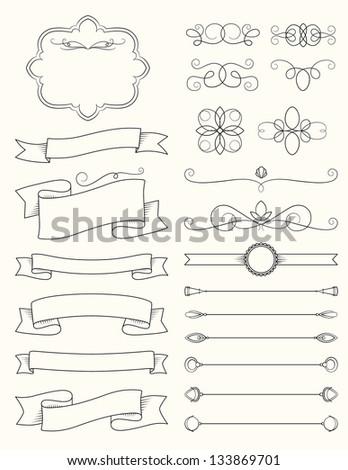 Vintage Calligraphy Design Elements Three - stock vector