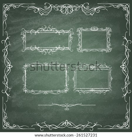 Vintage Calligraphy  Design . Set of decorative design elements and page decor. Classic curves and curly lines. Set of hand drawn ornamental frames on the green blackboard. Vector illustration. - stock vector