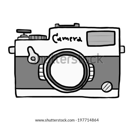Vintage Camera Cartoon Vector And Illustration Grayscale Hand Drawn Style Isolated On