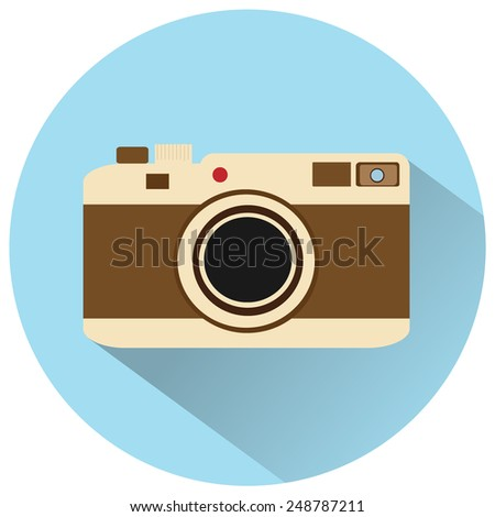 vintage camera icon - stock vector