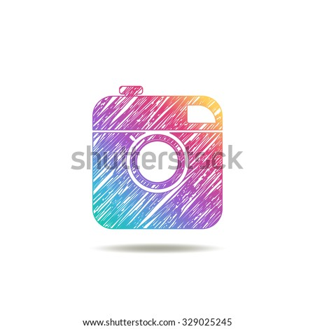 vintage camera painted colors of the rainbow. logo
