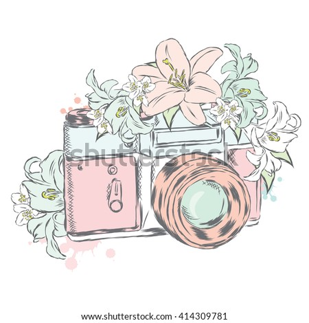 Vintage camera with flowers. Vector illustration. - stock vector