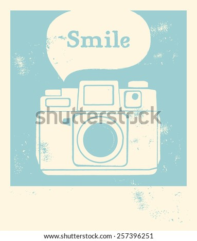 Vintage camera with textured background - stock vector