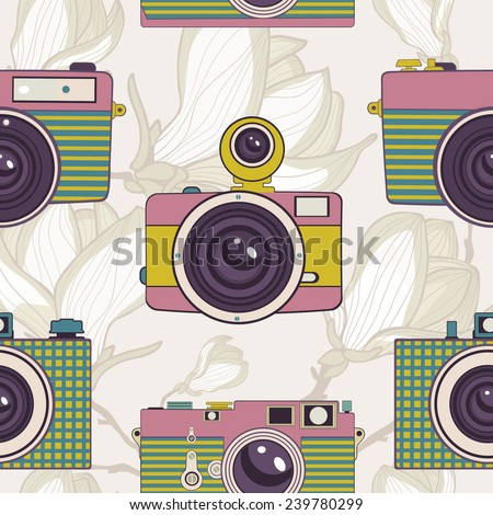 Vintage cameras colorful seamless pattern. vector illustration - stock vector