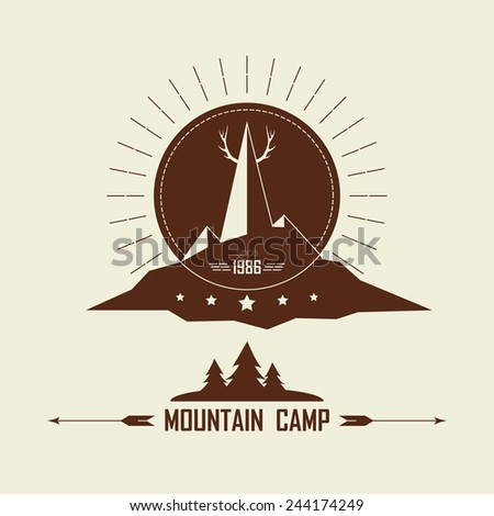 Vintage camping and outdoor activity logo. Vector logo template and badge with forest, tree, mountain, antlers. National parks and nature exploration symbol. - stock vector
