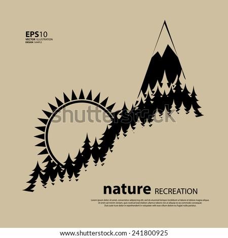 Vintage camping and outdoor activity logo. Vector logo template and badge with forest, trees, mountain, sun. National parks and nature exploration symbol. - stock vector