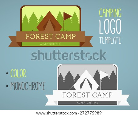 Vintage camping and outdoor activity logos. Designed in color and monochrome. Vector logo templates and badges with forest, trees, flag, ribbon, tent. National parks and nature exploration symbols. - stock vector