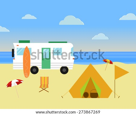 Vintage camping concept. Retro caravan, motorhome, rv on the beach, summer vacation, and holiday. Flat design. Vector illustration. - stock vector