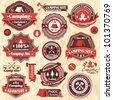 Vintage camping labels set - stock vector