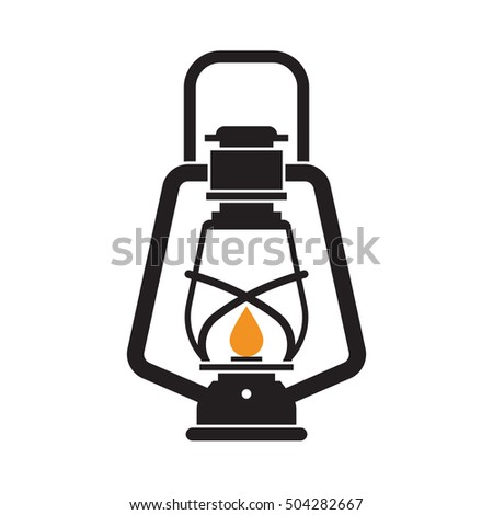 Vintage Camping Lantern Silhouette Isolated On Stock Vector 504282667