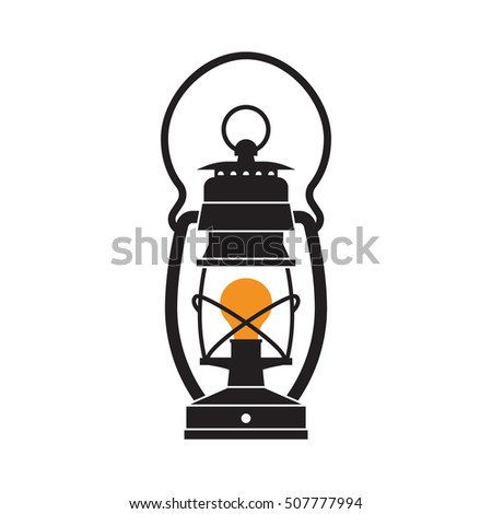 Vintage Camping Lantern Silhouette Isolated On White Background Retro Gas Lamp With Glowing Fire Wick
