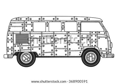 safari jeep tours retro monochrome outdoor stock vector
