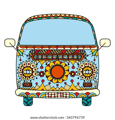 Vintage car a mini van in zentangle style. Hand drawn image. The popular bus model in the environment of the followers of the hippie movement. Vector illustration.  - stock vector