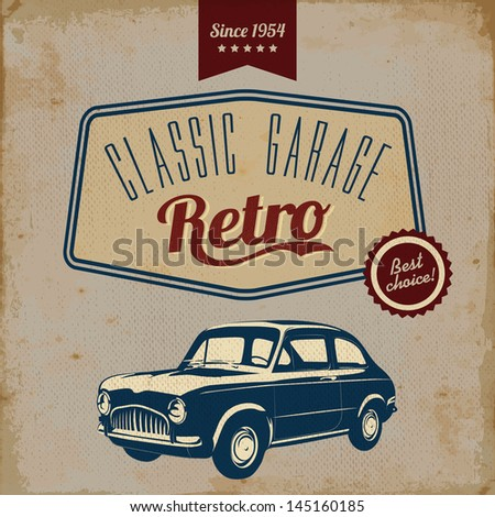Vintage car design flyer - Grungy style vector design - stock vector