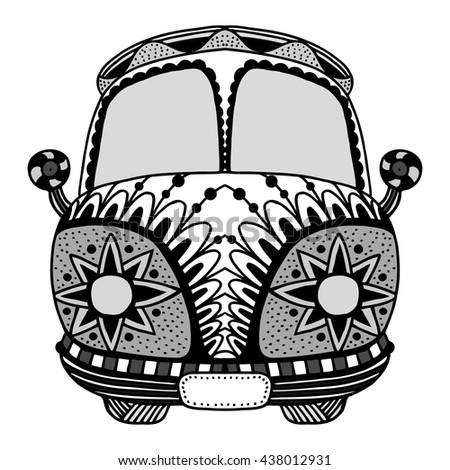 hippie vintage car mini van zentangle stock vector