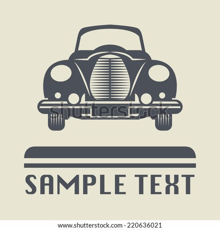 Vintage car icon or sign, vector illustration - stock vector