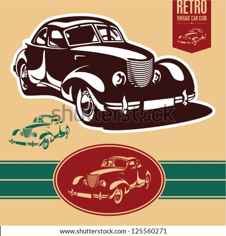 Vintage car label - stock vector