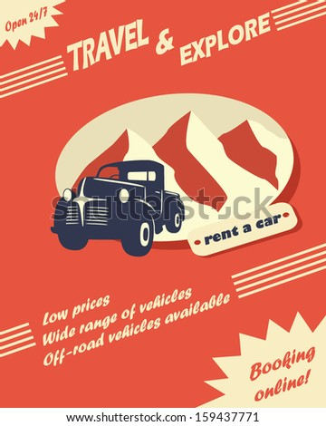 Vintage car rental flyer or leaflet design with space for text - stock vector