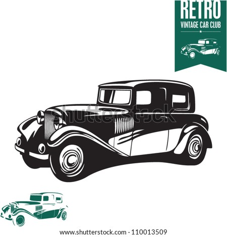 Vintage car. Retro car. Classic car. - stock vector
