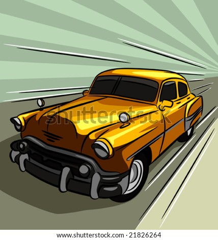 Vintage car speeding across the road - stock vector