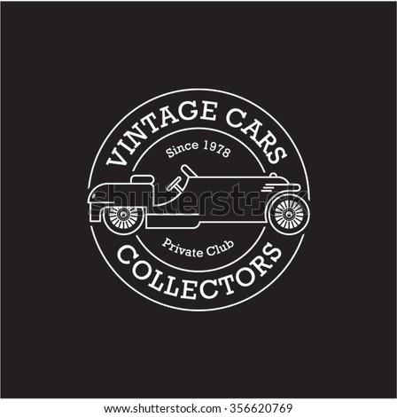 vintage car stamp linear vector label - stock vector