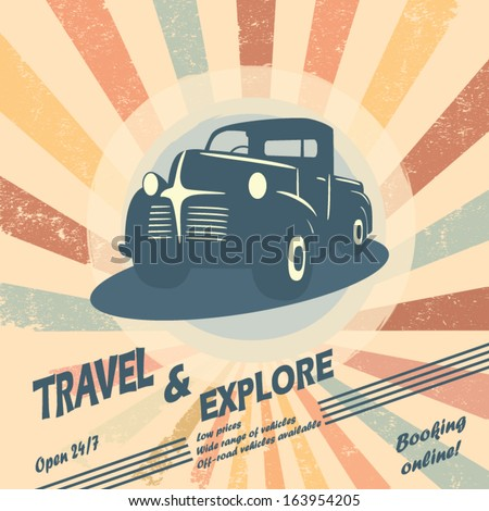 Vintage car vector illustration for car rental flyers or leaflet design with space for text.  - stock vector