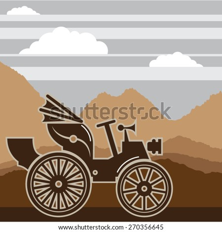 Vintage car vector 1800s - stock vector