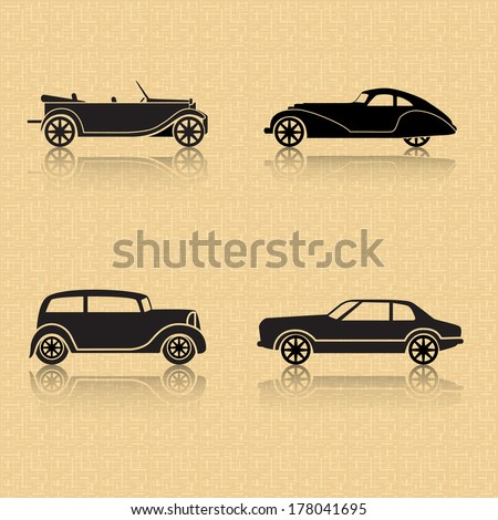 vintage car with reflection on a brown background - stock vector