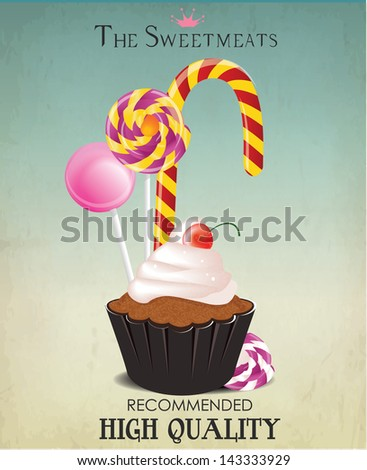 vintage card and background with cupcake and candy - stock vector