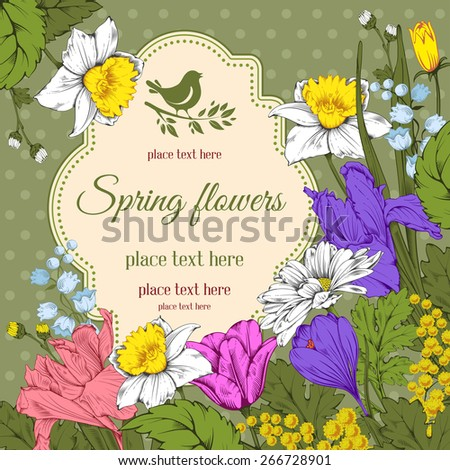 Vintage card for invitation or other life events. Hand drawn spring garden flowers on green polka dot background. Vector illustration. - stock vector