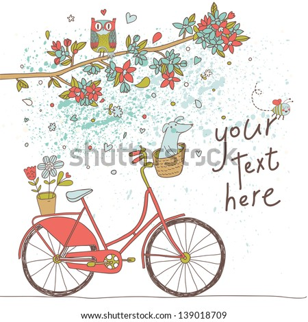 Vintage card in vector. Retro bicycle with cute dog under the branch with flowers and owl in bright colors - stock vector