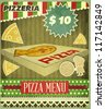 Vintage card Menu for Pizzeria - vector illustration - stock photo