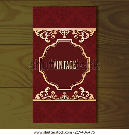Vintage card on dark wooden background. Seamless damask pattern included in swatches. - stock vector