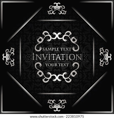Vintage card on seamless background with a silver decoration                            - stock vector