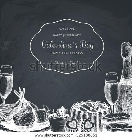 thẻ Vintage hoặc thiết kế mời cho lễ kỷ niệm Ngày Valentine.  khung Vector với tay rút thực phẩm phác họa và thức uống trên bảng đen.  Cafe hoặc mẫu thực đơn nhà hàng.