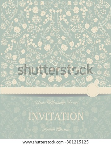 Vintage card or wedding invitation and announcement with elegant floral background. Vector Illustration - stock vector